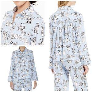 Kate Spade wove Cat Print Pajama Top